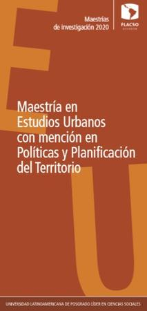 Urban Studies with specialization in Policies and territory planning 2020