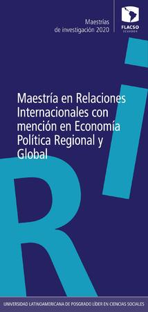 International Relations with specialization in Regional and Global Political Economy 2020