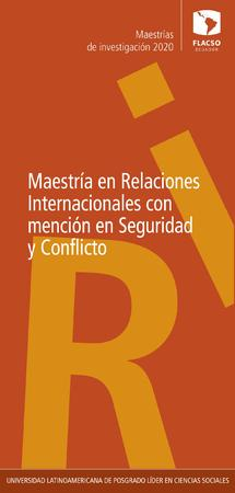 International Relations with a specialization in Security and Conflict 2020
