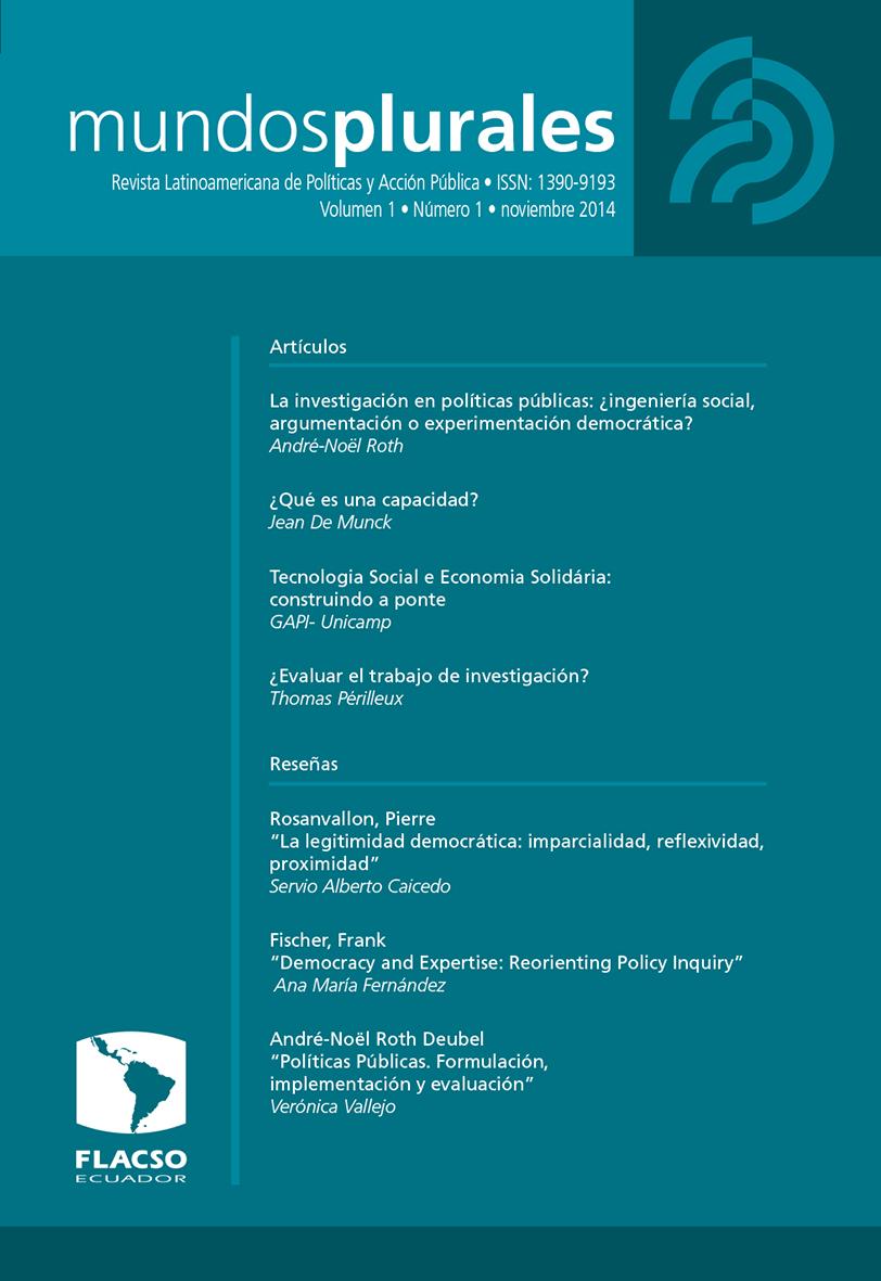 Mundos plurales. Volumen 1, No. 1. Revista Latinoamericana de Políticas y Acción Pública